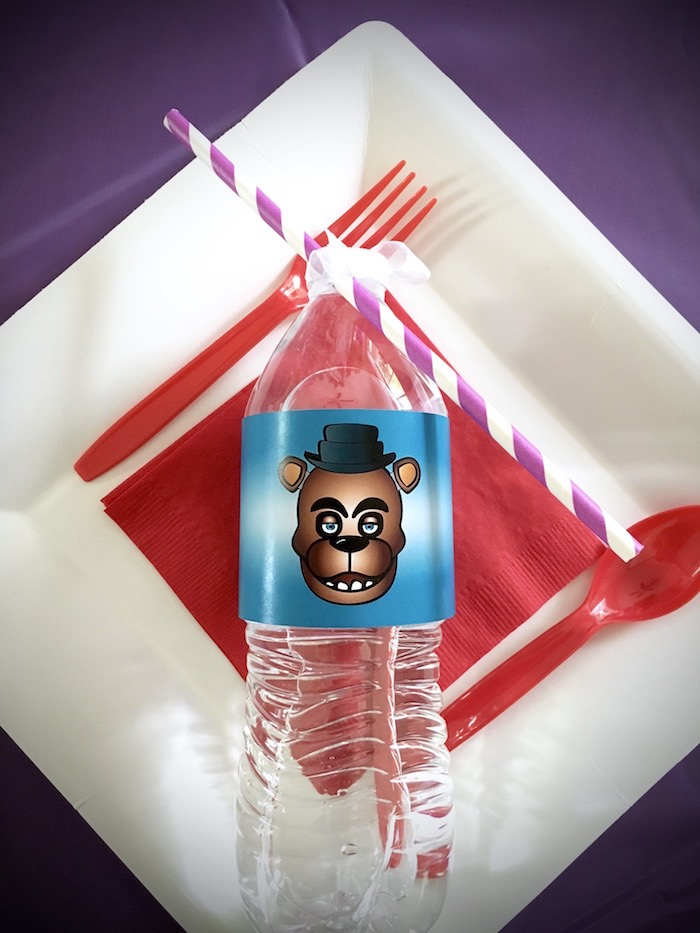 Place setting from a Five Nights At Freddy's Birthday Party on Kara's Party Ideas | KarasPartyIdeas.com (10)