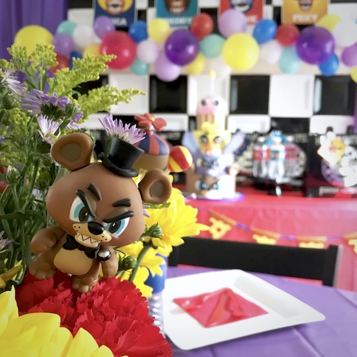 Five Nights At Freddy's floral table centerpiece from a Five Nights At Freddy's Birthday Party on Kara's Party Ideas | KarasPartyIdeas.com (9)