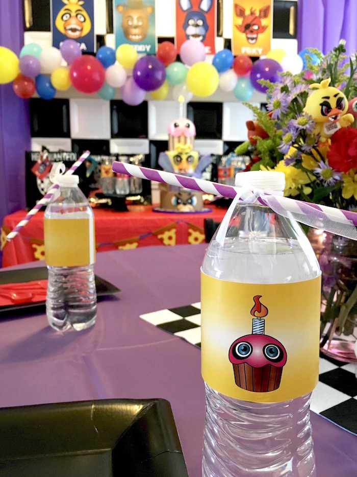 Water bottle from a Five Nights At Freddy's Birthday Party on Kara's Party Ideas | KarasPartyIdeas.com (7)