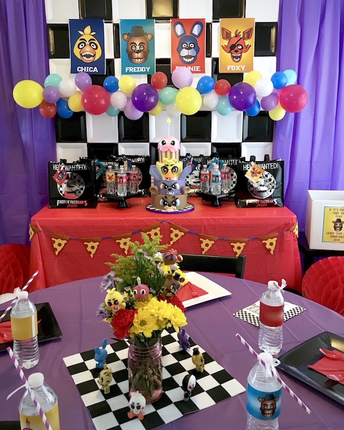Party tables from a Five Nights At Freddy's Birthday Party on Kara's Party Ideas | KarasPartyIdeas.com (6)
