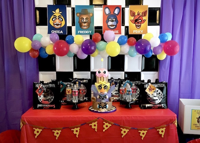 Cake table from a Five Nights At Freddy's Birthday Party on Kara's Party Ideas | KarasPartyIdeas.com (5)