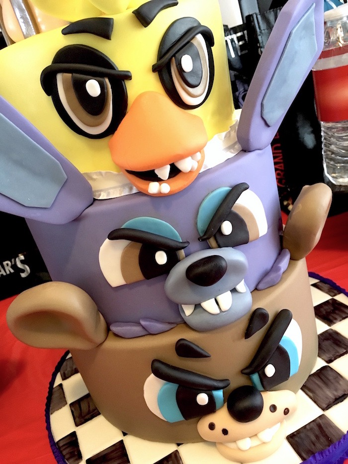 Five Nights At Freddys Character Cake From A Birthday Party On Karas