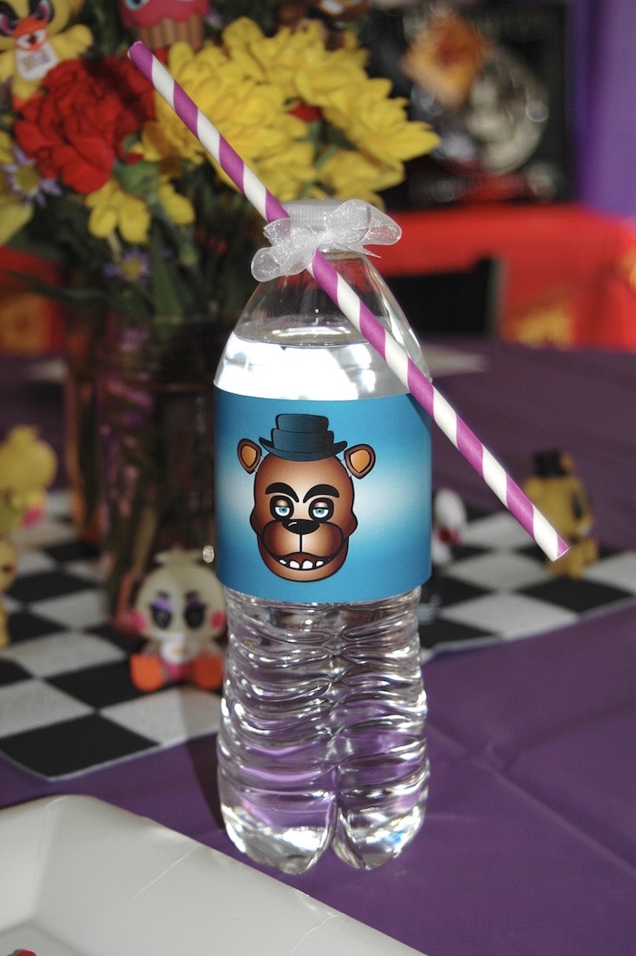 Water bottle from a Five Nights At Freddy's Birthday Party on Kara's Party Ideas | KarasPartyIdeas.com (22)