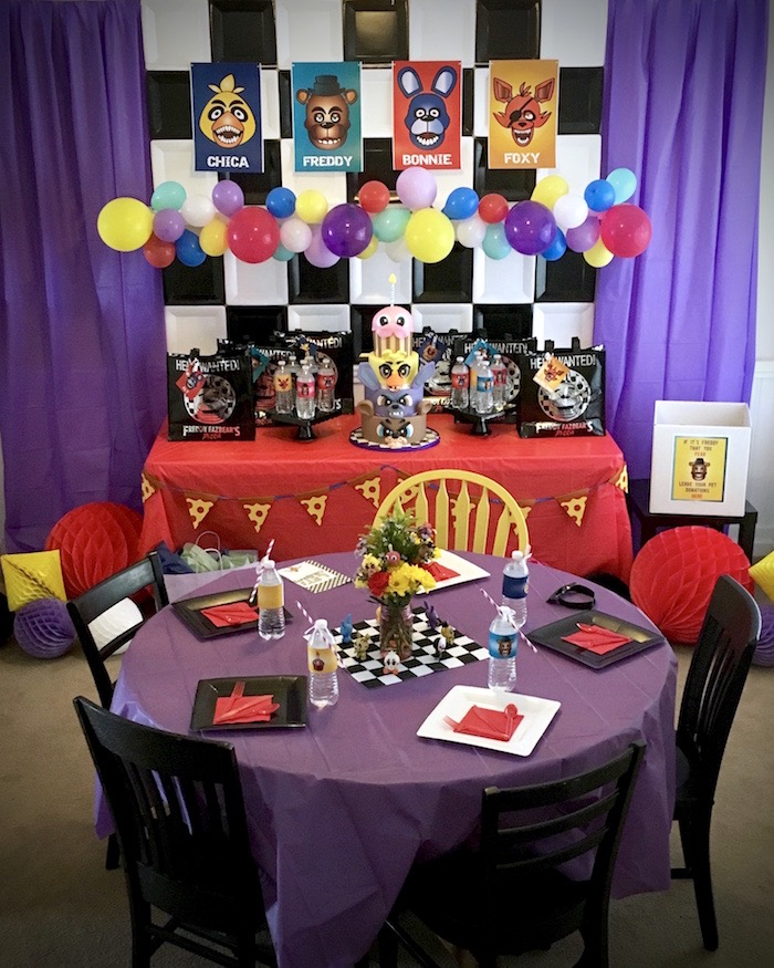 Party setup from a Five Nights At Freddy's Birthday Party on Kara's Party Ideas | KarasPartyIdeas.com (3)