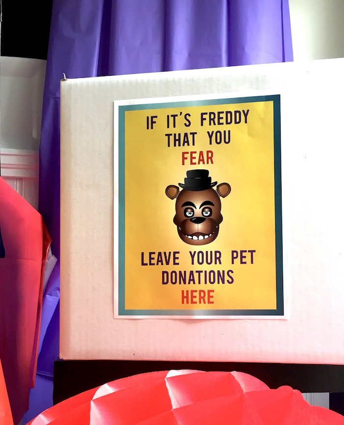 Party signage from a Five Nights At Freddy's Birthday Party on Kara's Party Ideas | KarasPartyIdeas.com (17)
