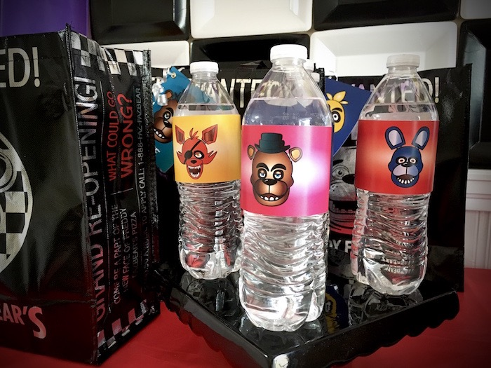 Water bottle from a Five Nights At Freddy's Birthday Party on Kara's Party Ideas | KarasPartyIdeas.com (16)