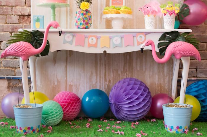Flamingo dessert table from a Flocks of Flamingos Birthday Party via Kara's Party Ideas | KarasPartyIdeas.com (23)