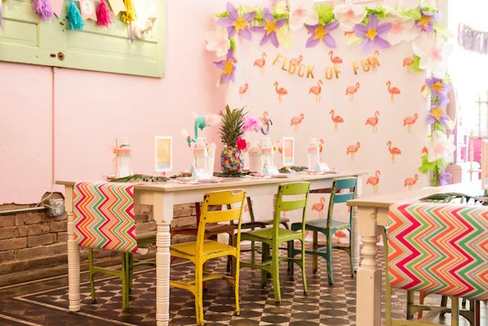 Guest table from a Flocks of Flamingos Birthday Party via Kara's Party Ideas | KarasPartyIdeas.com (21)