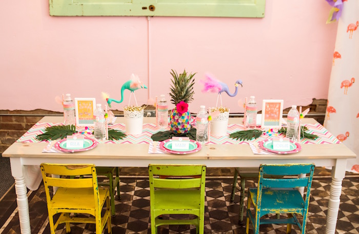 Guest table from a Flocks of Flamingos Birthday Party via Kara's Party Ideas | KarasPartyIdeas.com (20)