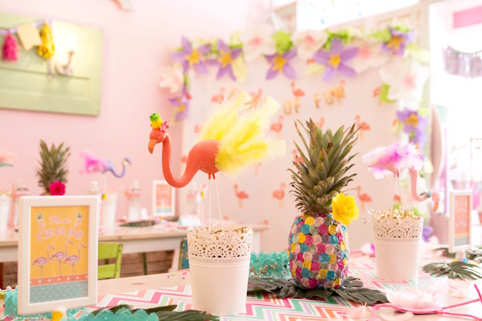 Party table + backdrop from a Flocks of Flamingos Birthday Party via Kara's Party Ideas   KarasPartyIdeas.com (17)