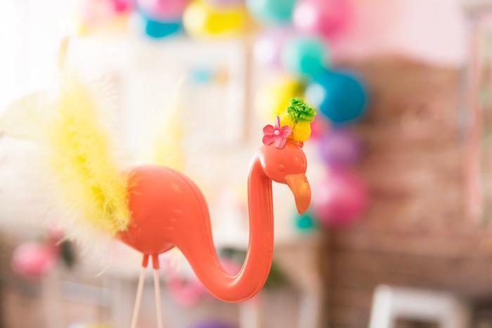 Orange flamingo from a Flocks of Flamingos Birthday Party via Kara's Party Ideas | KarasPartyIdeas.com (16)