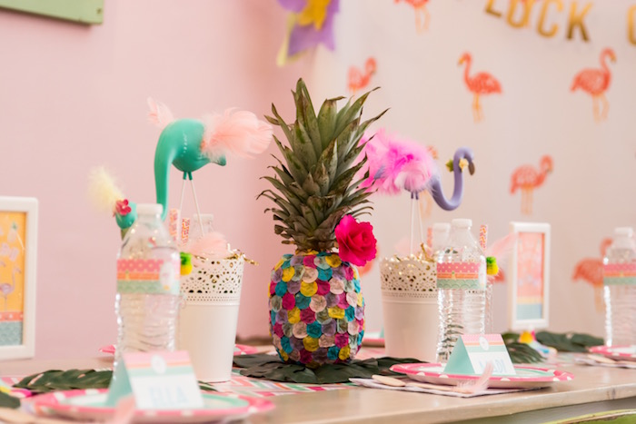 Pineapple party table from a Flocks of Flamingos Birthday Party via Kara's Party Ideas   KarasPartyIdeas.com (15)