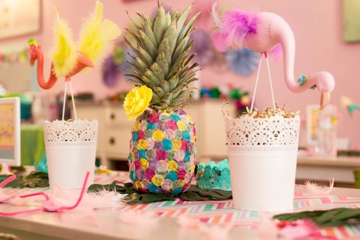 Pink & orange flamingo centerpieces + confetti covered pineapple from a Confetti pineapple from a Flocks of Flamingos Birthday Party via Kara's Party Ideas | KarasPartyIdeas.com (14)