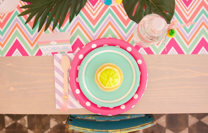 Place setting with cupcake from a Flocks of Flamingos Birthday Party via Kara's Party Ideas | KarasPartyIdeas.com (12)