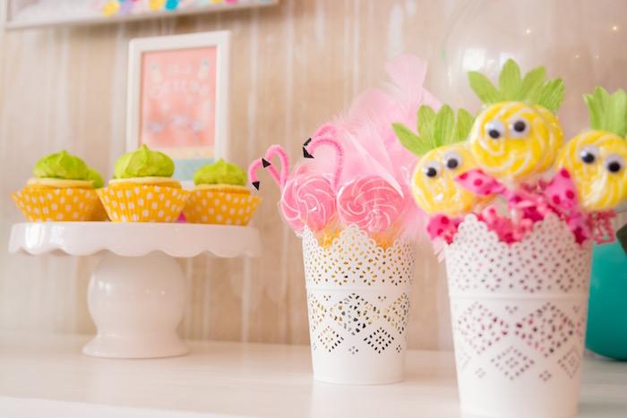 Flamingo and pineapple suckers + cupcakes from a Flocks of Flamingos Birthday Party via Kara's Party Ideas | KarasPartyIdeas.com (9)