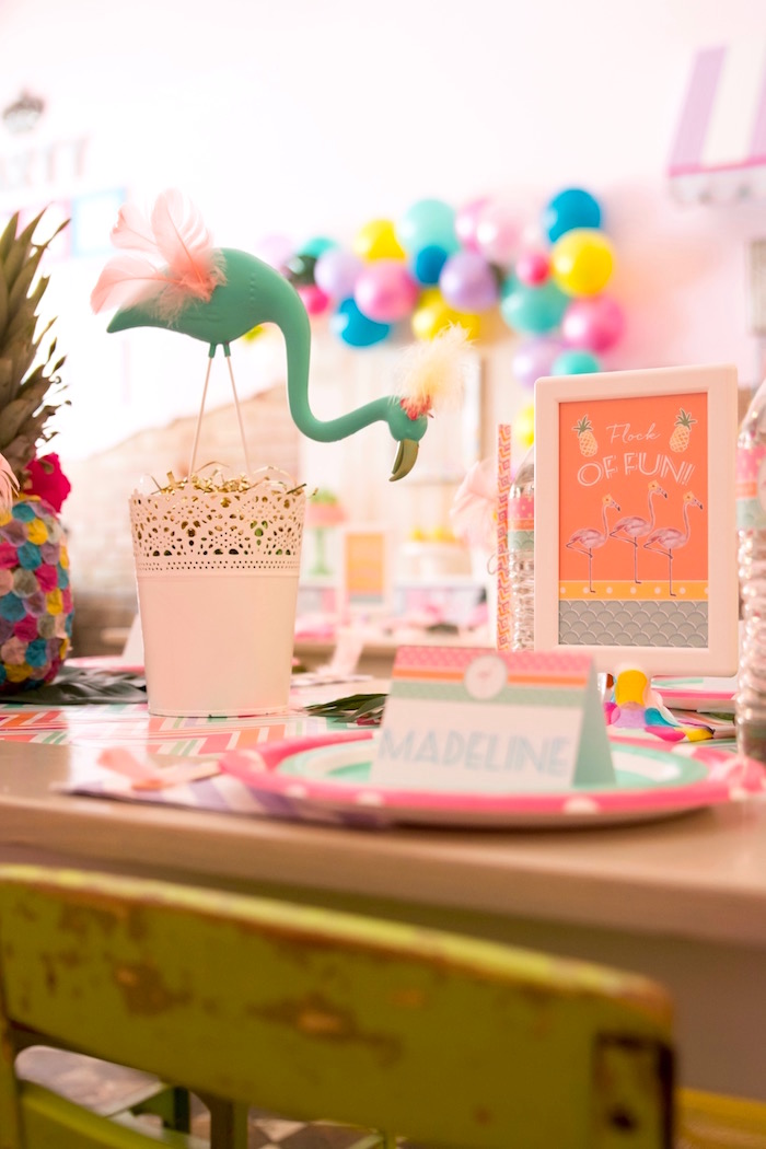 Teal flamingo + table props from a Flocks of Flamingos Birthday Party via Kara's Party Ideas | KarasPartyIdeas.com (8)