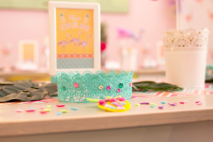 Lace tiara & pineapple clip favors from a Flocks of Flamingos Birthday Party via Kara's Party Ideas   KarasPartyIdeas.com (7)