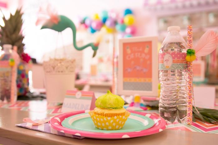 Place setting from a Flocks of Flamingos Birthday Party via Kara's Party Ideas | KarasPartyIdeas.com (6)