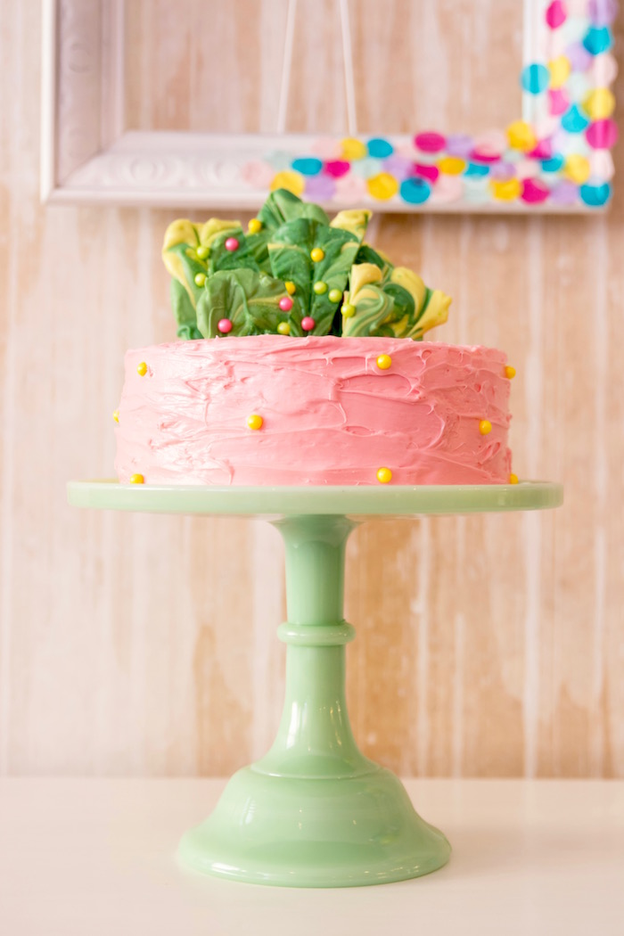 Cake from a Flocks of Flamingos Birthday Party via Kara's Party Ideas   KarasPartyIdeas.com (30)