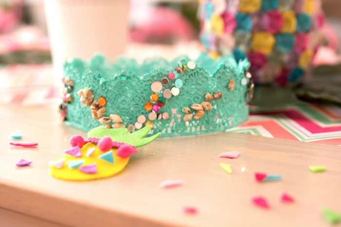 Crown and pineapple clip from a Flocks of Flamingos Birthday Party via Kara's Party Ideas | KarasPartyIdeas.com (29)