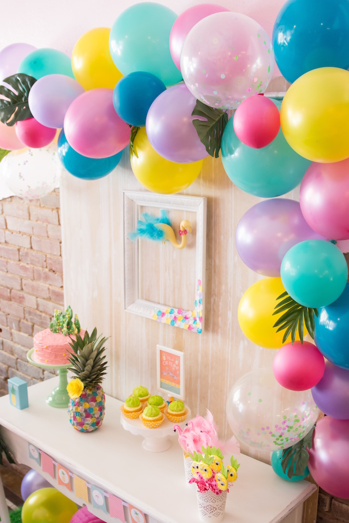Dessert table from a Flocks of Flamingos Birthday Party via Kara's Party Ideas | KarasPartyIdeas.com (27)