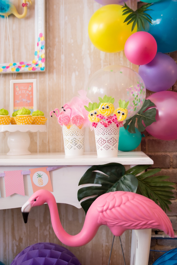 Dessert table details from a Flocks of Flamingos Birthday Party via Kara's Party Ideas | KarasPartyIdeas.com (26)