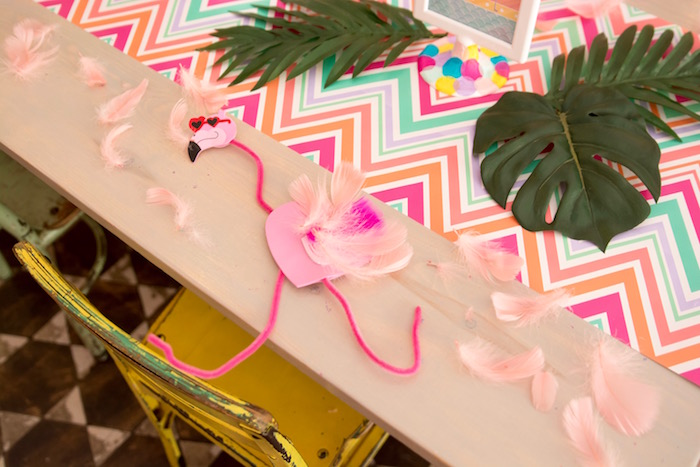 Flamingo craft from a Flocks of Flamingos Birthday Party via Kara's Party Ideas | KarasPartyIdeas.com (25)