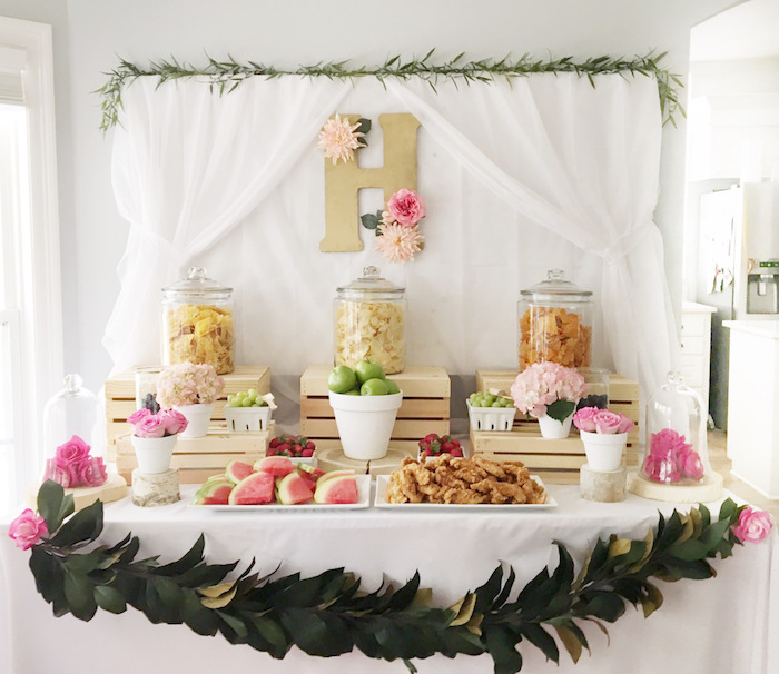 Floral-inspired food table from a Floral 1st Birthday Party via Kara's Party Ideas | KarasPartyIdeas.com (33)