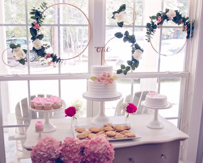 Beautiful dessert table from a Floral 1st Birthday Party via Kara's Party Ideas | KarasPartyIdeas.com (27)