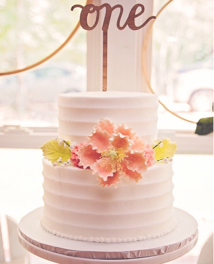 Gorgeous birthday cake from a Floral 1st Birthday Party via Kara's Party Ideas | KarasPartyIdeas.com (25)