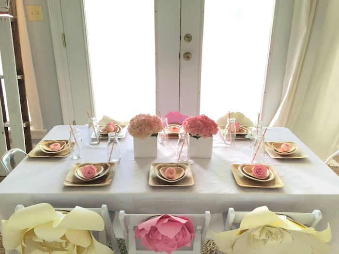 Kid table from a Floral 1st Birthday Party via Kara's Party Ideas | KarasPartyIdeas.com (43)