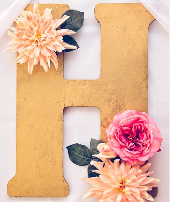 Flower adorned letter decoration from a Floral 1st Birthday Party via Kara's Party Ideas | KarasPartyIdeas.com (22)