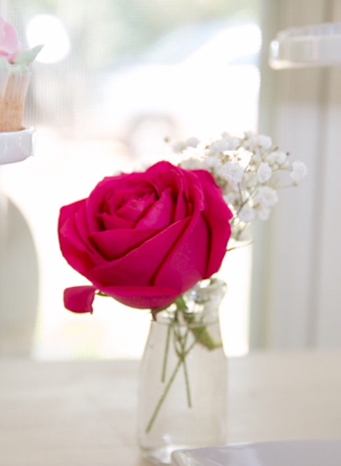 Pink rose in a glass vase from a Floral 1st Birthday Party via Kara's Party Ideas | KarasPartyIdeas.com (18)