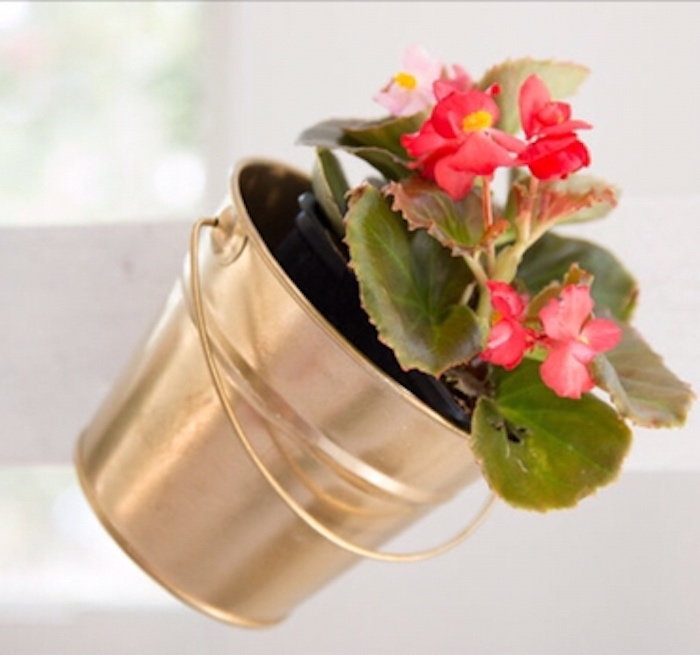 Gold potted flower plant from a Floral 1st Birthday Party via Kara's Party Ideas | KarasPartyIdeas.com (16)