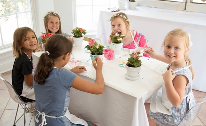 Activity table from a Floral 1st Birthday Party via Kara's Party Ideas | KarasPartyIdeas.com (15)