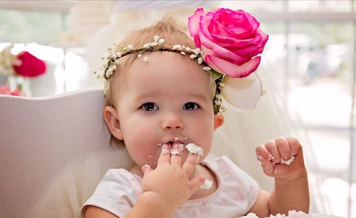 Floral crowned birthday girl from a Floral 1st Birthday Party via Kara's Party Ideas | KarasPartyIdeas.com (13)