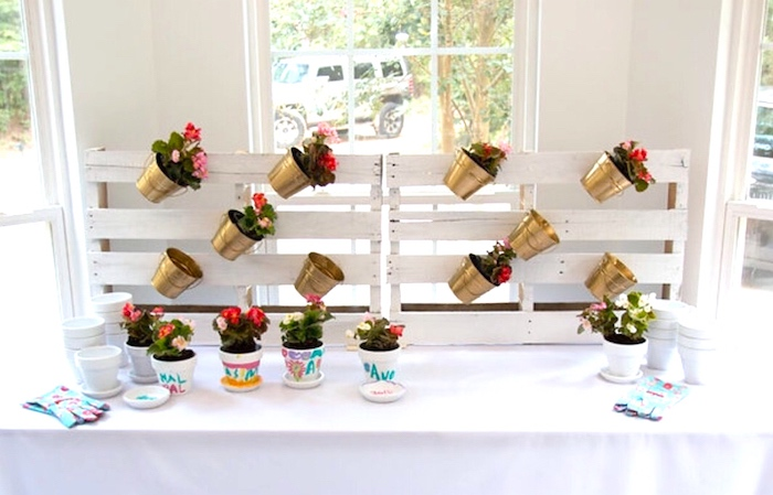 Plant table from a Floral 1st Birthday Party via Kara's Party Ideas | KarasPartyIdeas.com (11)