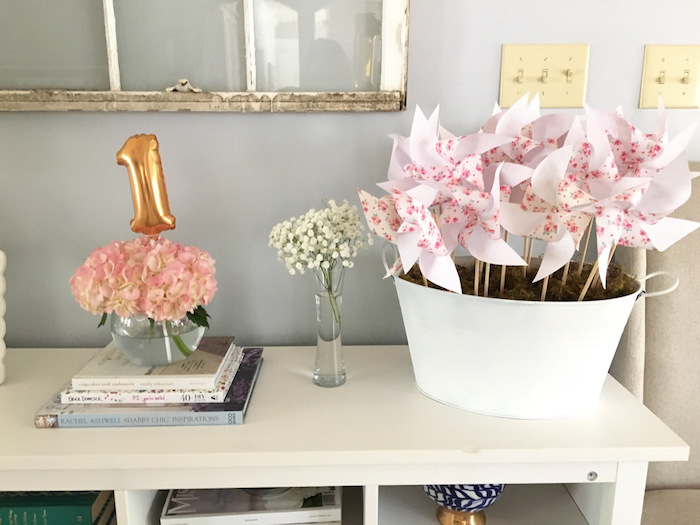 Blooms & pinwheels from a Floral 1st Birthday Party via Kara's Party Ideas | KarasPartyIdeas.com (39)