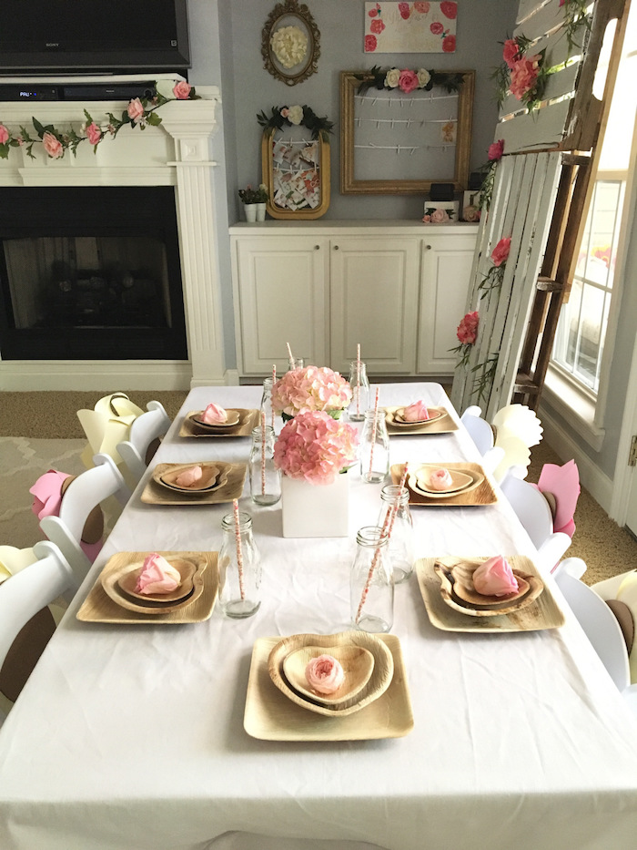 Guest table setting from a Floral 1st Birthday Party via Kara's Party Ideas | KarasPartyIdeas.com (36)