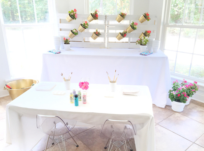 Flower pot painting station from a Floral 1st Birthday Party via Kara's Party Ideas | KarasPartyIdeas.com (35)