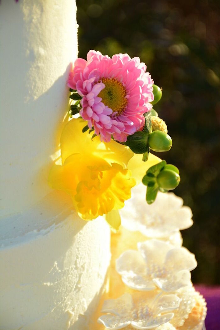 Floral detail on a cake from a Floral Bohemian Sunset Party on Kara's Party Ideas | KarasPartyIdeas.com (25)