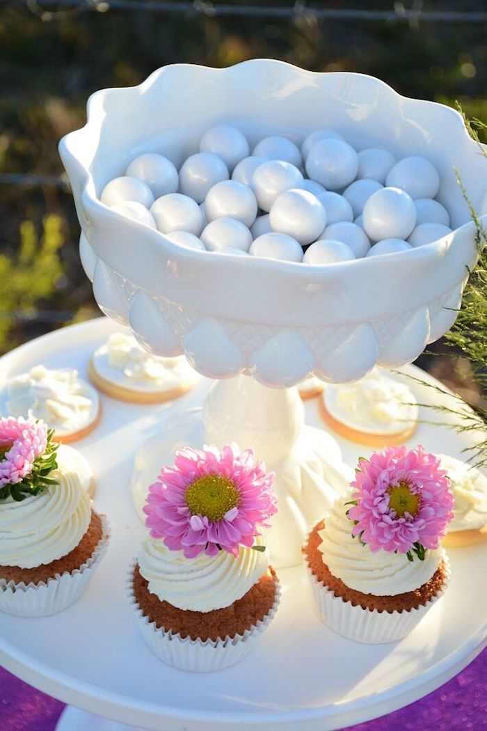 Cupcakes + candy from a Floral Bohemian Sunset Party on Kara's Party Ideas | KarasPartyIdeas.com (23)