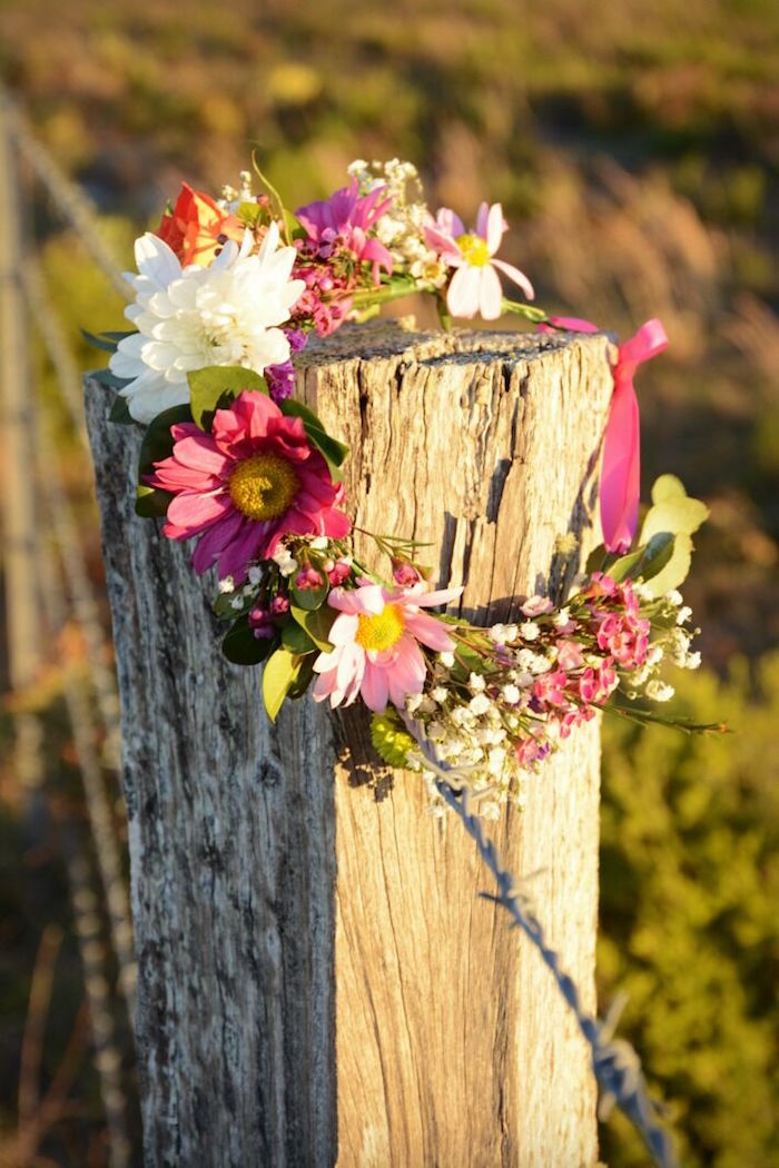 Flower crown from a Floral Bohemian Sunset Party on Kara's Party Ideas | KarasPartyIdeas.com (16)