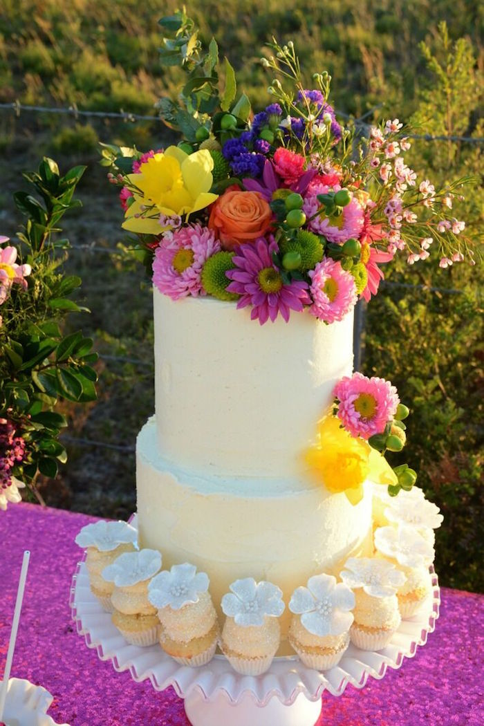 Cake and cupcakes from a Floral Bohemian Sunset Party on Kara's Party Ideas | KarasPartyIdeas.com (12)