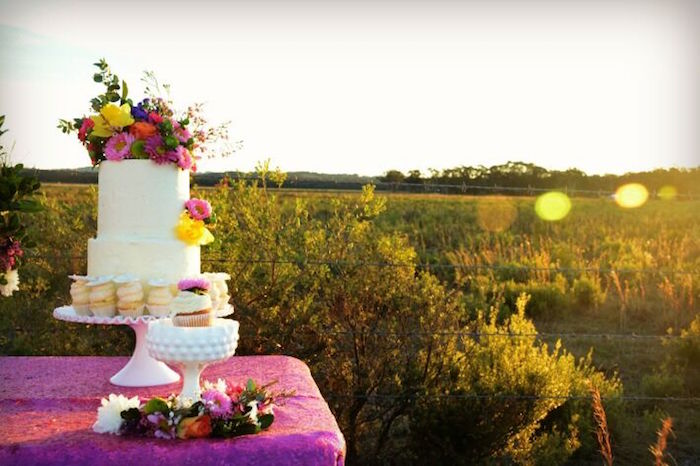 Beautiful sunset on a cake table Floral Bohemian Sunset Party on Kara's Party Ideas | KarasPartyIdeas.com (11)