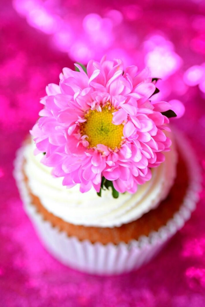 Flower-topped cupcake from a Floral Bohemian Sunset Party on Kara's Party Ideas | KarasPartyIdeas.com (9)