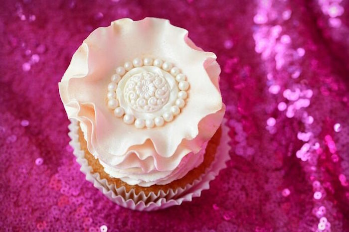 Beautiful flower cupcake from a Floral Bohemian Sunset Party on Kara's Party Ideas | KarasPartyIdeas.com (8)