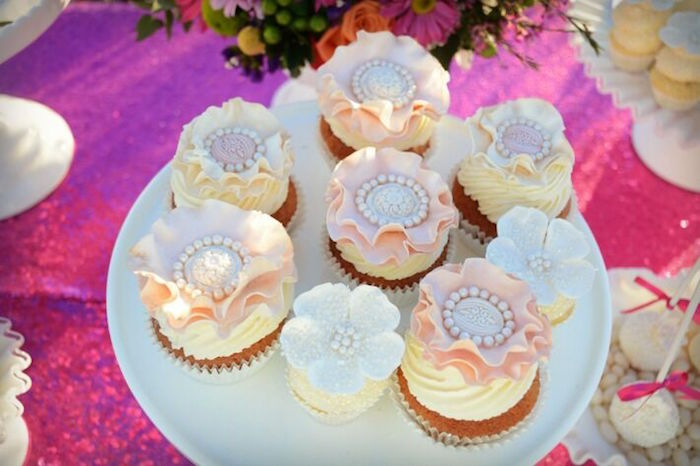 Flower cupcakes from a Floral Bohemian Sunset Party on Kara's Party Ideas | KarasPartyIdeas.com (29)