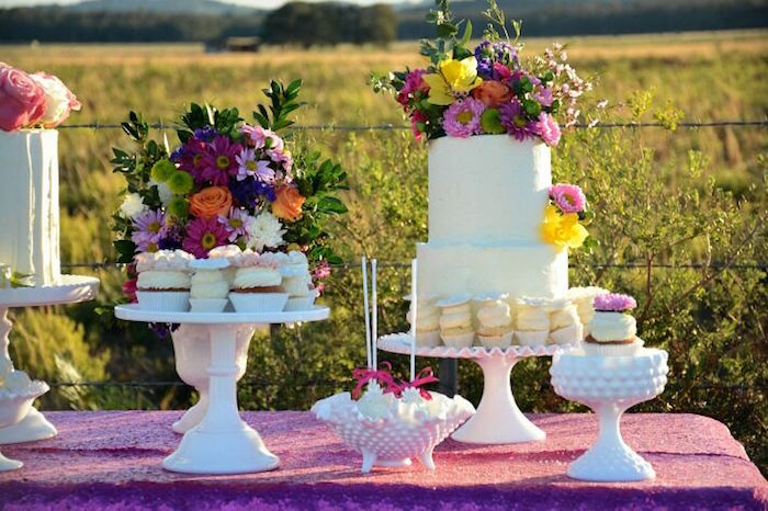 Cake table from a Floral Bohemian Sunset Party on Kara's Party Ideas | KarasPartyIdeas.com (27)