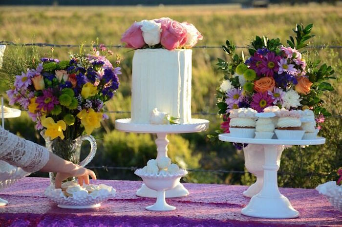 Cakescape from a Floral Bohemian Sunset Party on Kara's Party Ideas | KarasPartyIdeas.com (26)